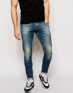 Умеренно выбеленные суперузкие джинсы стретч G-Star Defend Wils - Синий