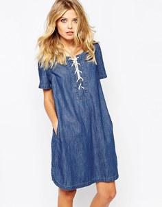 Джинсовое платье со шнуровкой Noisy May Cadance - Синий