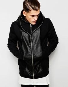 Куртка с капюшоном и отделкой из искусственной кожи ASOS - Черный