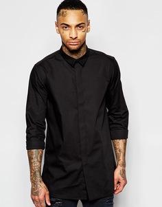 Удлиненная рубашка с воротником из искусственной замши ASOS - Черный