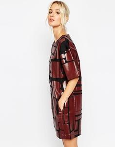 Джинсовое платье‑футболка с принтом ASOS WHITE - Мульти