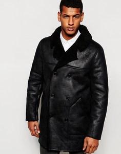 Двубортная асимметричная куртка с искусственной цигейкой ASOS - Черный