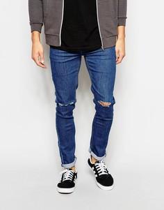 Супероблегающие джинсы с прорехами на коленях Another Influence - Синий