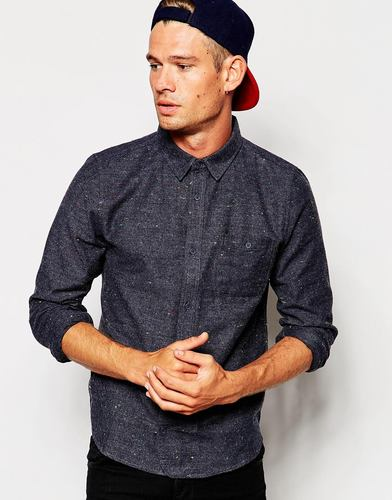 Рубашка в крапинку с начесом Native Youth - Светло-голубой