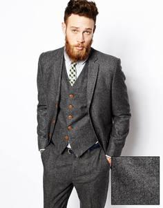 Пиджак зауженного кроя с шевронным узором ASOS - Серый
