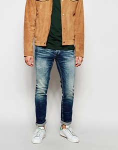 Узкие джинсы из стираного денима Jack & Jones - Умеренный синий