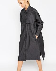 Платье-рубашка в стиле милитари ASOS WHITE - Серый