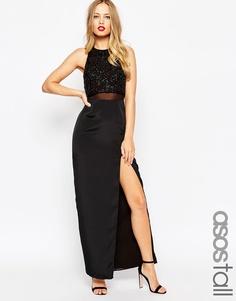 Прямое платье макси с декорированным укороченным топом ASOS TALL - Черный