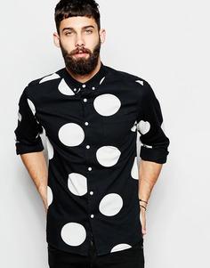 Джинсовая рубашка в крупный горошек с длинными рукавами ASOS - Черный