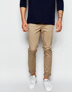 Бежевые облегающие брюки ASOS - Stone