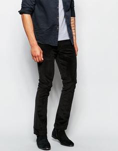 Вельветовые брюки скинни с легким клешем ASOS - Черный