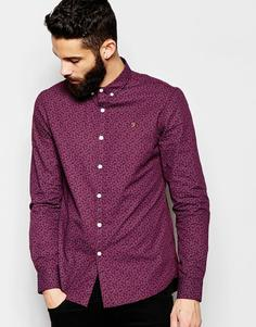 Рубашка слим с принтом пейсли ЭКСКЛЮЗИВНО от Farah - Burgundy
