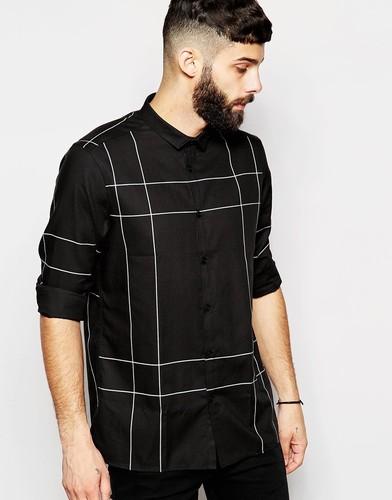 Рубашка с длинными рукавами и принтом в крупную клетку ASOS - Черный