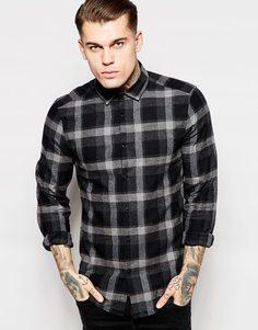 Теплая рубашка в клетку ASOS - Серый