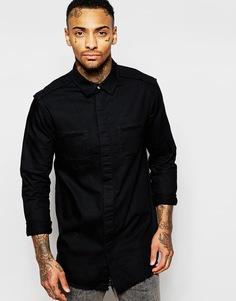 Джинсовая рубашка с необработанным краем и длинными рукавами ASOS - Черный