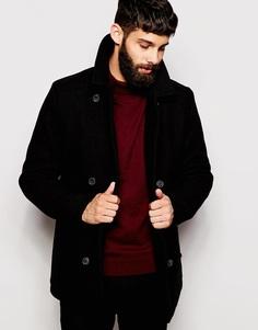 Пальто-бушлат из шерсти Farah - Черный