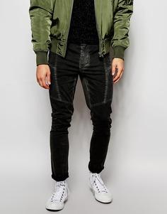 Супероблегающие брюки в байкерском стиле ASOS - Черный