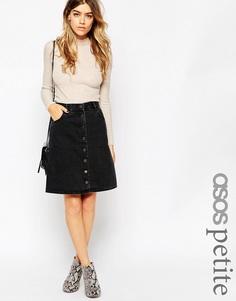 Черная джинсовая юбка‑трапеция миди на пуговицах ASOS PETITE - Выбеленный черный