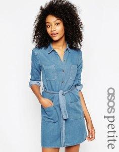 Джинсовое платье-рубашка с поясом ASOS PETITE - Синий