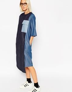 Джинсовое платье миди со вставками ASOS WHITE - Синий