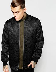 Куртка-пилот с цветочной вышивкой ASOS - Черный