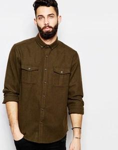 Рубашка в стиле милитари из смесовой шерсти ASOS - Хаки