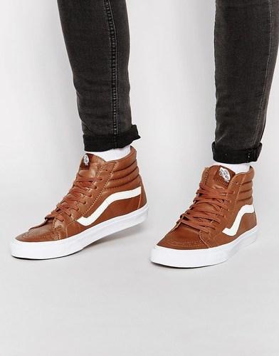 Высокие кожаные кроссовки Vans - Коричневый