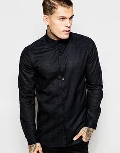 Рубашка с длинными рукавами и принтом под кожу крокодила ASOS - Черный