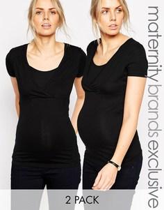 Комплект из 2 футболок с запахом специально для кормящих мам Mamalicious - Черный Mama.Licious