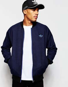 Твидовая куртка-пилот adidas Originals AB7640 - Темно-синий