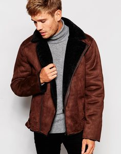 Байкерская куртка из искусственной овчины Barneys - Коричневый Barney's Originals