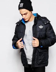 Удлиненная дутая куртка с капюшоном adidas Originals AB7879 - Черный
