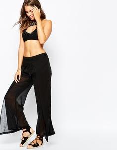 Прозрачные пляжные брюки с запахом Seafolly Amazon - Черный