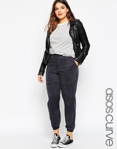 Выбеленные брюки‑галифе с байкерской отделкой ASOS CURVE - Темно-серый