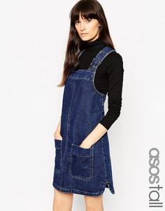 Джинсовый сарафан с накладными карманами ASOS TALL - Синий