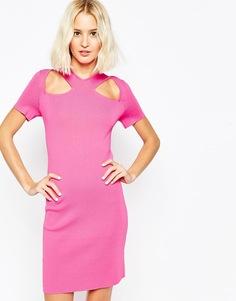 Структурированное платье с декоративными вырезами и молнией ASOS - Розовый