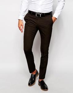 Зауженные брюки в клетку Selected Homme Luxe - Темно-коричневый
