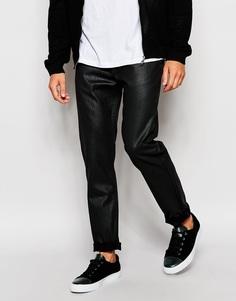 Черные суженные книзу джинсы слим с блестящим покрытием Lee Arvin - Черный сияющий