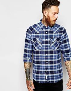 Саржевая клетчатая рубашка в стиле вестерн Lee Rider - Темно-синий