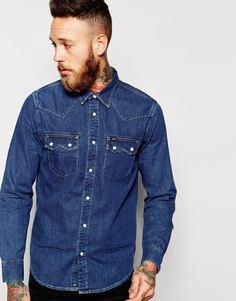 Рубашка в стиле вестерн из тертого денима Lee Rider - Умеренный темно-серый