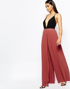 Плиссированные широкие брюки Missguided - Красно-бурый