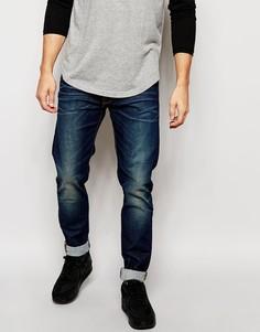 Синие тертые джинсы скинни с заниженным шаговым швом Edwin ED-85 - Темный тертый