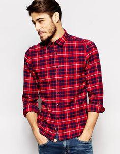 Фланелевая рубашка в клетку с 2 карманами Replay - Красная клетка