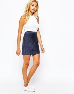 Замшевая мини-юбка American Apparel - Темно-синяя замша