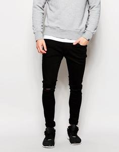 Облегающие джинсы с прорезями на коленях Hoxton - Черный