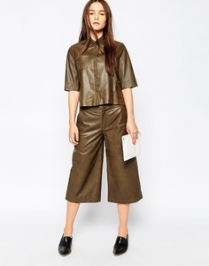 Кожаная юбка-шорты Muubaa Bello - Оливково-зеленый
