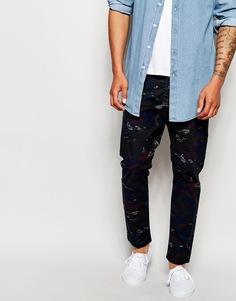 Узкие джинсы со сплошным камуфляжным принтом Diesel Tepphar-A-UL - Синий