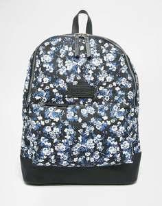 Парусиновый рюкзак с цветочным принтом и кожаной отделкой Jack Wills Heritage - Темно-синий пестрый