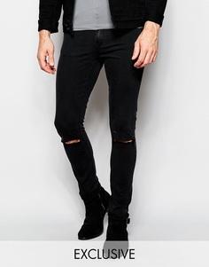 Черные джинсы скинни с прорехами на коленях эксклюзивно для Cheap Monday - Very black