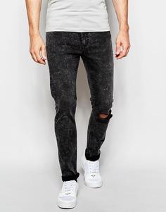 Черные облегающие джинсы с дыркой на колене Cheap Monday - Черный